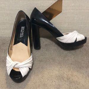 Michael Kors Black & White Peeptoe Heels Size 6